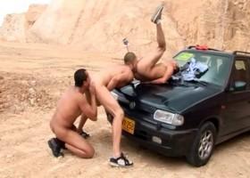Bareback Outdoor Threesome