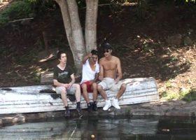 Latinos Outdoor Bareback Threesome