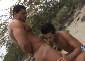 Latin Exhibitionist Bareback Beach Fuck