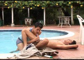 Latin Twinks Poolside Bareback Fuck